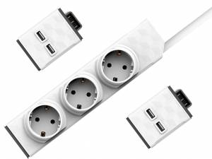 PowerStrip Modular Switch 1,5 m + 2x USB modul